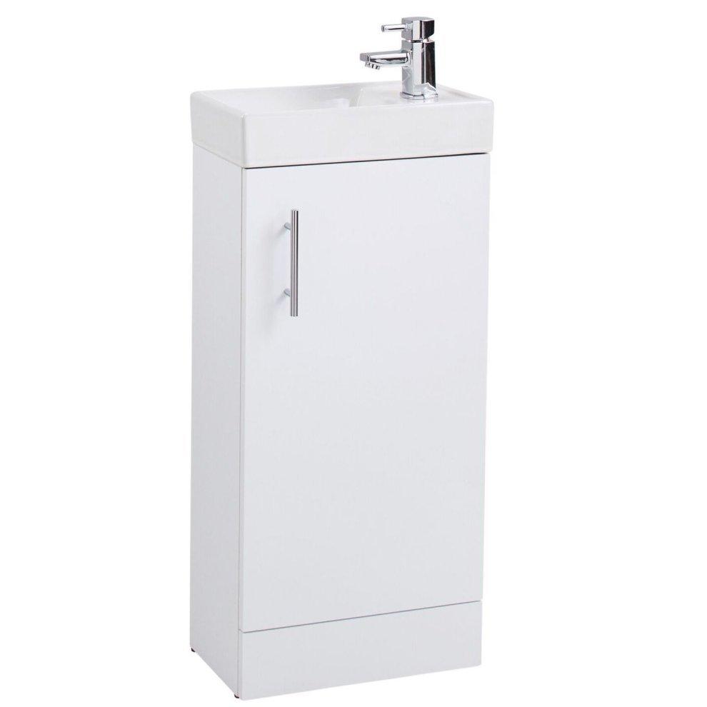 White freestanding bathroom vanity unit basin 40cm on onbuy for Free standing bathroom vanity units