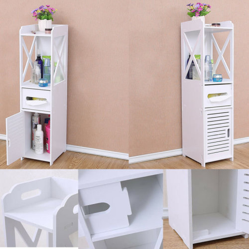 White Unit Bathroom Furniture Cabinet Wood Slim Shelf Cupboard Storage Sink UK