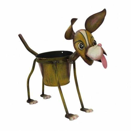 Hand Painted Metal Garden Nodding Dog Ornament Gift Sculpture/Planter