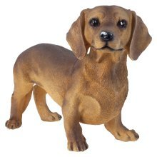 Large 32cm Realistic Standing Dachshund Dog Polyresin Garden Ornament