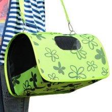 M Size Carry Bag Sweet Cute Pet Home Dog Cat Carrier House Travel---Green Petals