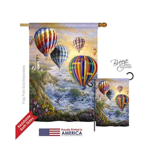 Breeze Decor 07048 Beach & Nautical Summer Glow 2-Sided Vertical Impression House Flag - 28 x 40 in.