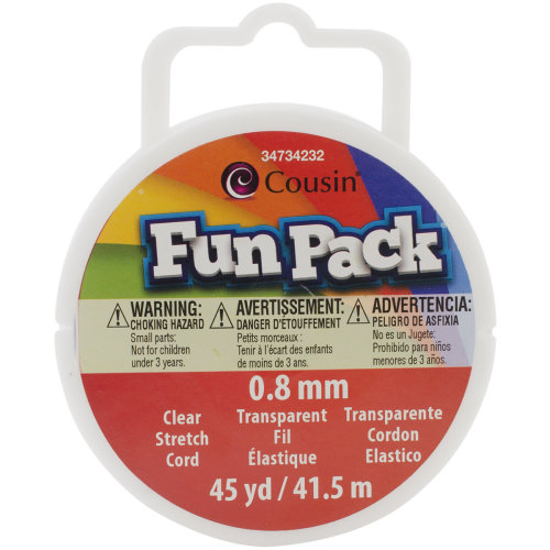 Fun Pack Stretch Cord Spool .8mmX45yd-Clear