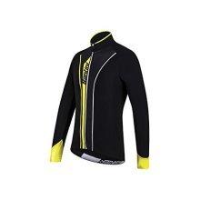 Santini 365 Vega Aqua Zero Long Sleeve Thermofleece Jersey - Black/yellow, -  santini vega 365 fw216075vega aquazero long sleeve thermofleece j