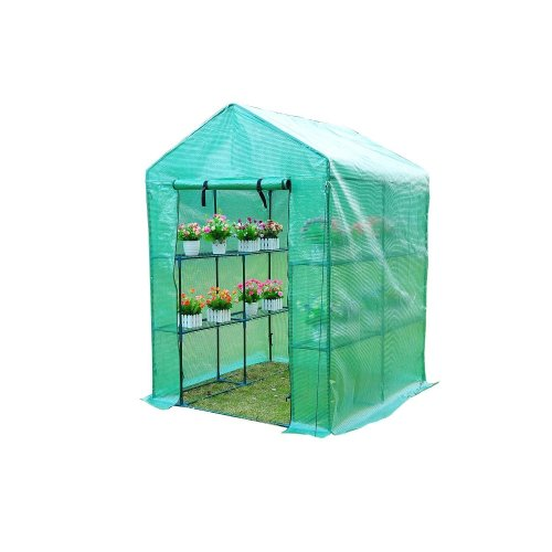 Outsunny Greenhouse with Shelves Polytunnel 143x143x195cm-dark Green
