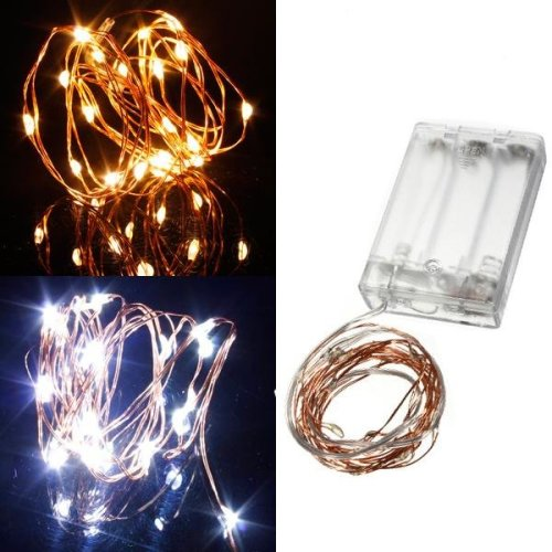 Warm White/Pure White 2M 20LED Copper Wire LED String Lights Lamp 5V