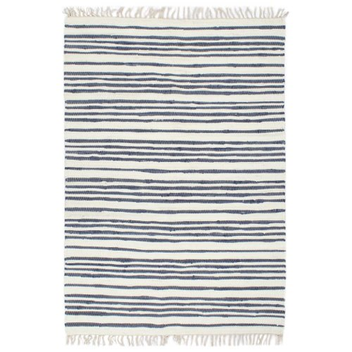 vidaXL Hand-woven Chindi Rug Cotton 200x290cm Blue and White Floor Carpet Mat