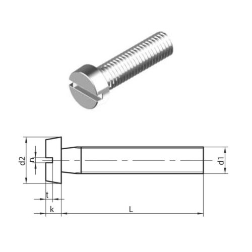 M8 x 40 mm Slotted Cheese head machine Screws (DIN 84) T304 (A2) Stainless Steel