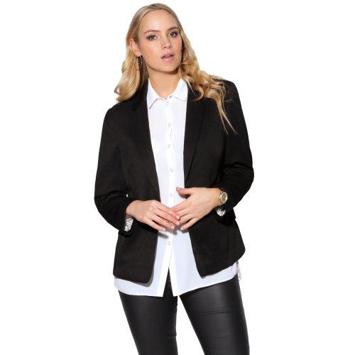 Women Tailored Classic Lapel Black Ladies Office Blazer Button Jacket Work Coat