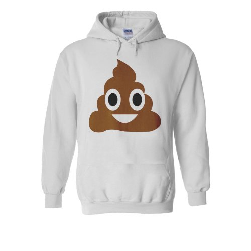 Cute SH*T POO Emoji Emoticon ICON White Men Women Unisex Hooded Sweatshirt Hoodie