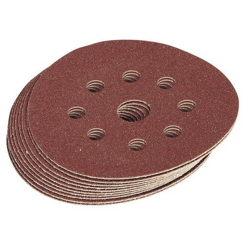 Draper 63372 Ten 125mm Assorted Grit Hook and Loop Sanding Discs