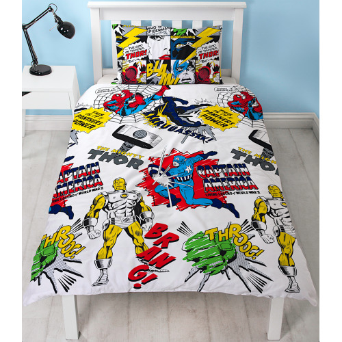 Marvel Comic Scribble Reversible Single Duvet Cover