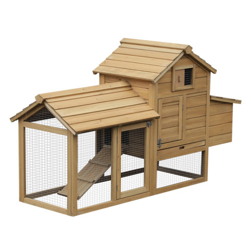 PawHut Large Chicken Coop Hen Cage Small Animal Hutch Nesting Box w/ Outdoor Run