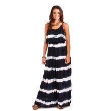 Ladies, Pistachio, Tie Dye Striped Pleat Overlay Maxi Dress, Navy Stripes