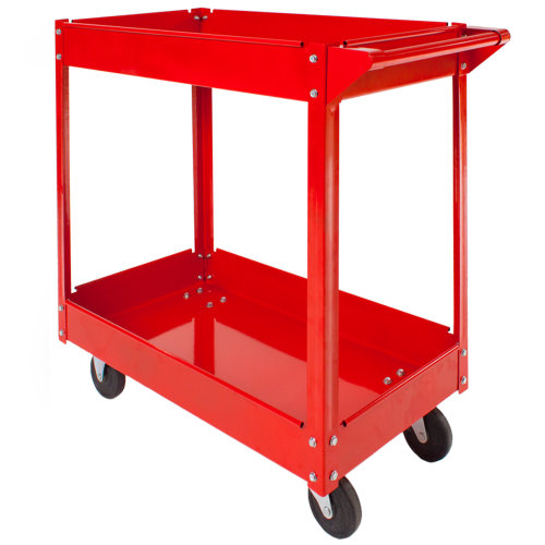 Tool trolley with 2 shelves - red