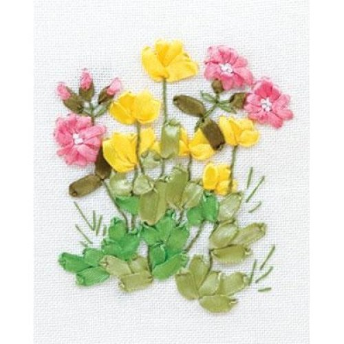 Ribbon Embroidery Kit by Panna  C-0940  Buttercups and Lungwort