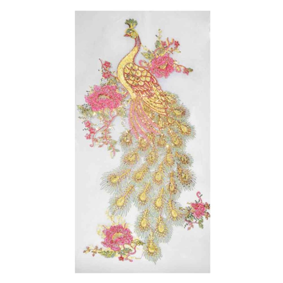 eb354f5c1995a Embroidery Applique Sew on Patches Applique Patches White Mesh Sequin  Peacock