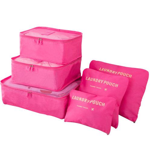 Miss Lulu 6Pcs Clothes Underwear Socks Packing Travel Luggage Organizer Bag Cube Storage Plum