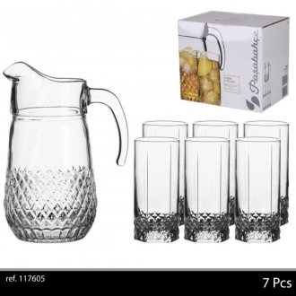 Passabache Valse 7Pc Drinking Glass Set 1 X Jug 1,33 Ltr And 6 Glasses 29Cl