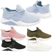 Kayleen Womens Low Heel Pull On Lace Up Trainers Ladies Fitness Sports Shoes New
