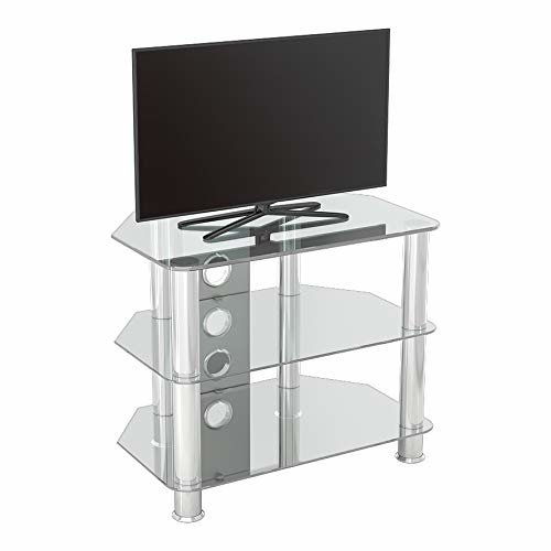 """King Glass TV Stand 60cm, Chrome Legs, Clear Glass, Cable Management, for TVs up to 32"""""""