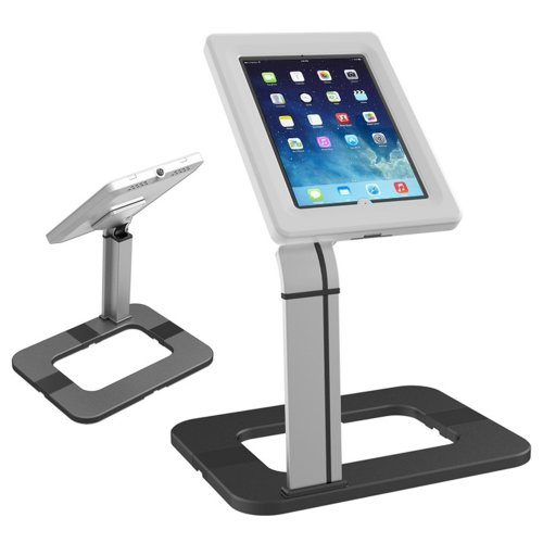 Maclean Lockable Tablet Desk Mount Stand Secure Anti Theft Holder Universal Desk Tablet Stand for Public Displays Lock Anti Theft iPad Samsung...