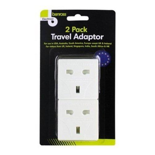 Benross Travel Adaptor Plugs 2 Pack - USA, Australia, South America & Europe Use