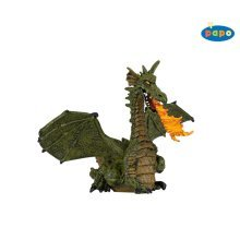 Papo Green Winged Dragon With Flame - Figure Toy Collectable Model -  papo green dragon flame winged figure toy collectable model