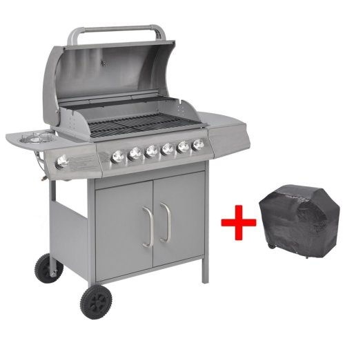 vidaXL Gas Barbecue Grill 6+1 Burners Silver
