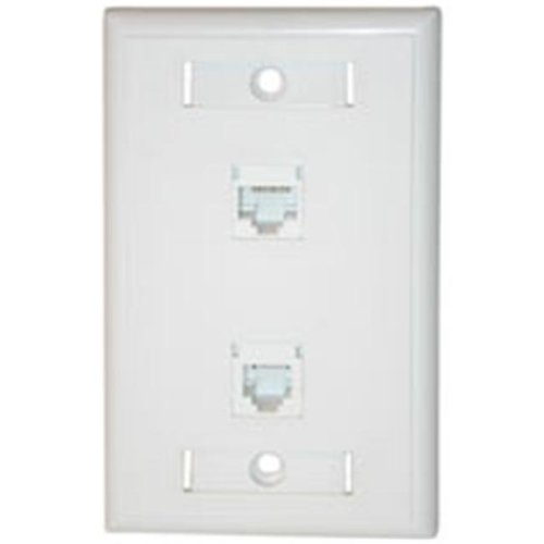 Cables To Go 27418 CAT 5E RJ45 WITH CAT3 RJ12 CONFIGURED WALL PLATE - WHITE