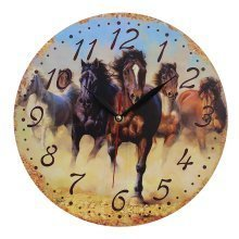 Obique Home Decoration Horses Running Scene 28cm MDF Wall Clock