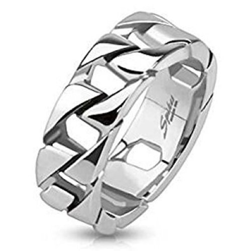 Cuban Link Chain Stainless Steel Band Ring 7.5mm Width