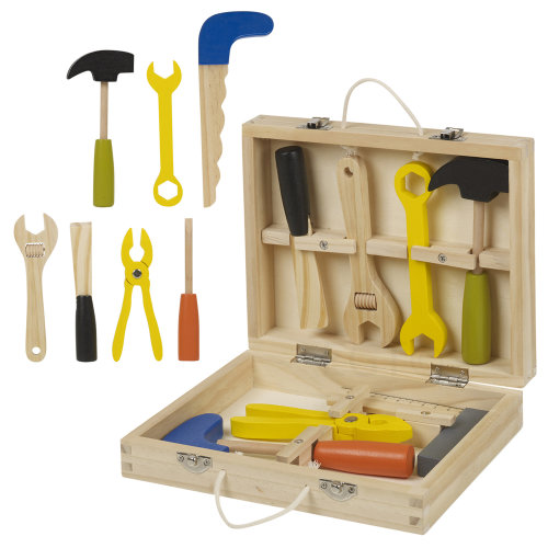 Classic 8pc Wooden Tool Set Children Toy Building Kit Play Gift