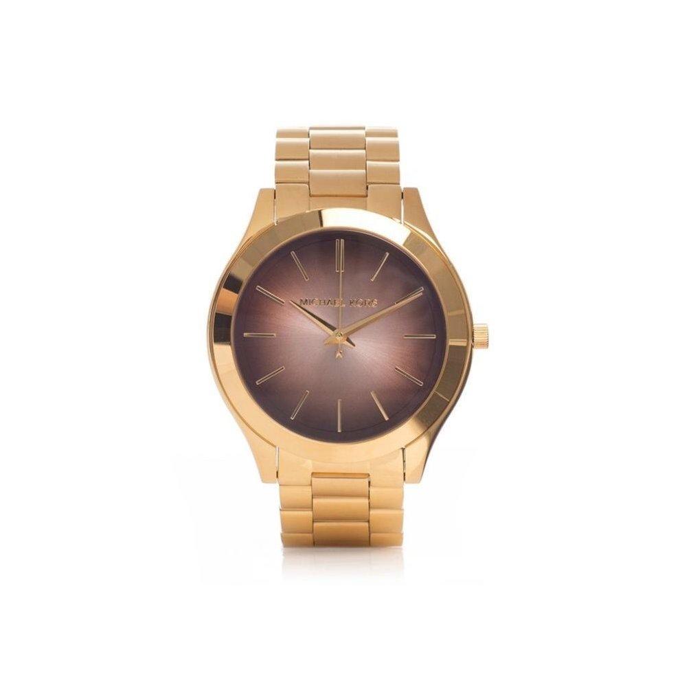Michael Kors Ladies Slim Runray Watch Gold PVD Stainless Steel Case and Bracelet Brown Dial MK3381