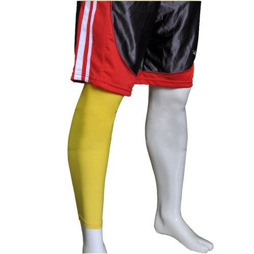 """[YELLOW] 17.7"""" Long Compression Basketball Leg Sleeve One Pic, Size Middle"""