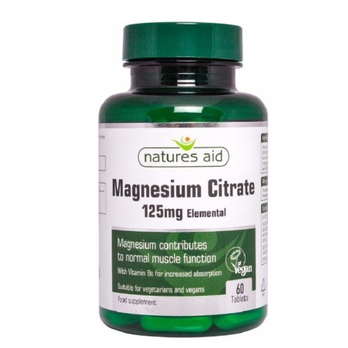 Natures Aid Magnesium Citrate 125mg Elemental 60 Tablets