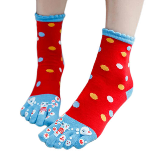 Tube Toe Socks Cotton Soft House Socks Cartoon Cute Socks-A04