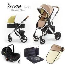 Tutti Bambini Riviera Plus 3 in 1 Chrome Travel System - Taupe/pistachio
