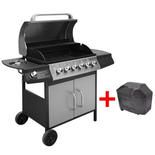 vidaXL Gas Barbecue Grill 6+1 Burners Black and Silver