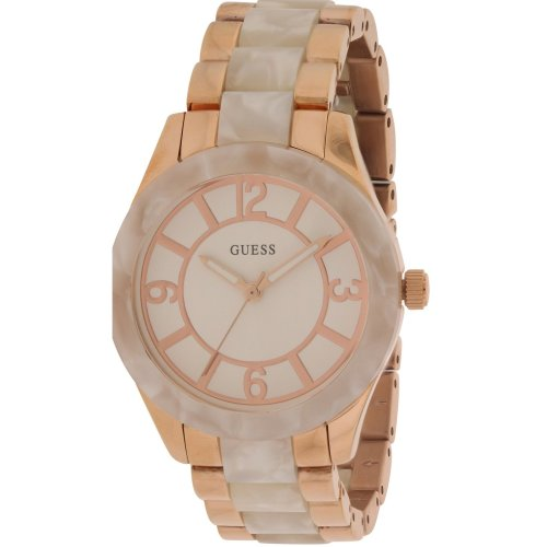 Guess Rose Gold-Tone & White Marbleized Ladies Watch W0074L2