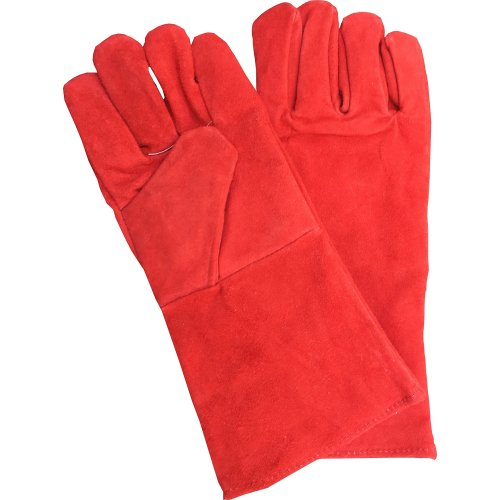 Top Quality Red 355mm Welding Gloves,Welders Gauntlets Woodburner Fireplace Gloves High Temperature BBQ Stove Long Lined Welders Gauntlet Log Fire...