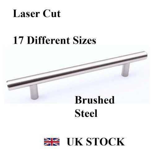 T-BAR HANDLE BRUSHED STEEL KITCHEN CABINET DRAWER CUPBOARD WARDROBE BEDROOM [510 mm overall length, Brushed Steel]