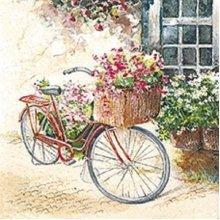 4 x Paper Napkins - Flower Bike - Ideal for Decoupage / Napkin Art