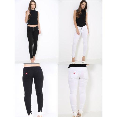 Women Skinny Black White Office Work Stylish Girls School Trousers