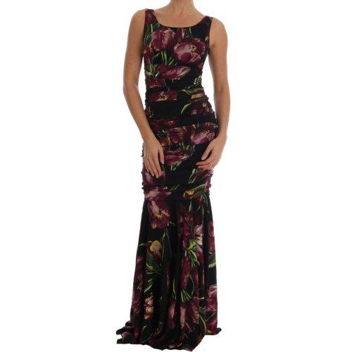 2874f7d9 Dolce & Gabbana Black Silk Stretch Purple Tulip Dress on OnBuy