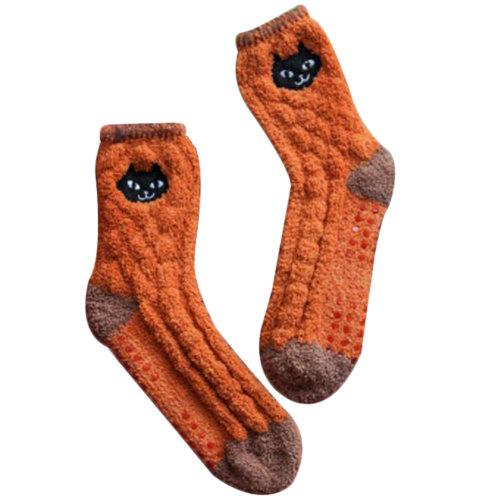 Soft Fuzzy Sleeping Socks Cartoon Slipper Socks Anti-skid Floor Socks-A5