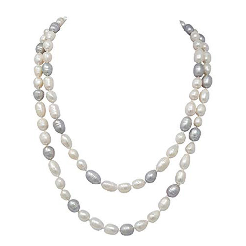 2bbda8a2df7f2 Elegant White and Grey Freshwater Pearl Necklace