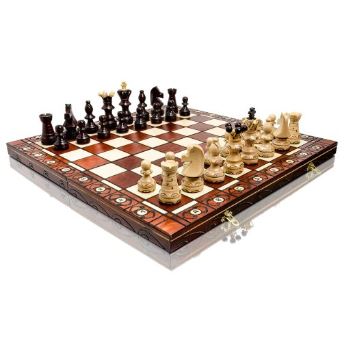 Exclusive AMBASSADOR DELUXE 54cm / 21in Premium Quality Wooden Chess Set, Handcrafted Classic Game