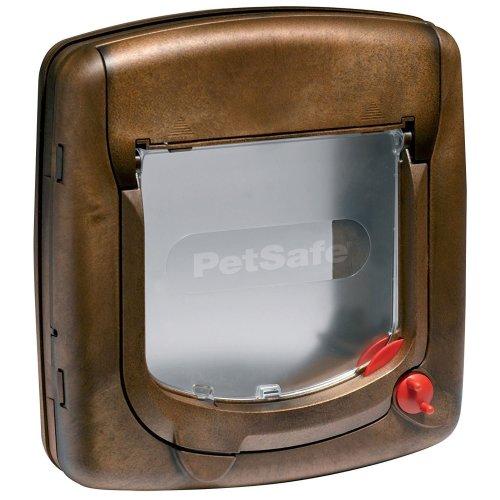 PetSafe Staywell Deluxe Manual Cat Flap Pet Door - 4-Way Lock - Brown Wood Grain