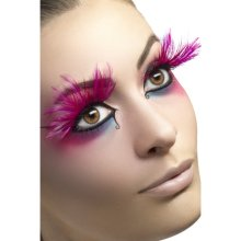 Smiffy's Eyelashes With Feather Plumes And Glue - Pink -  eyelashes feather pink dress long plumes smiffys false fancy glue